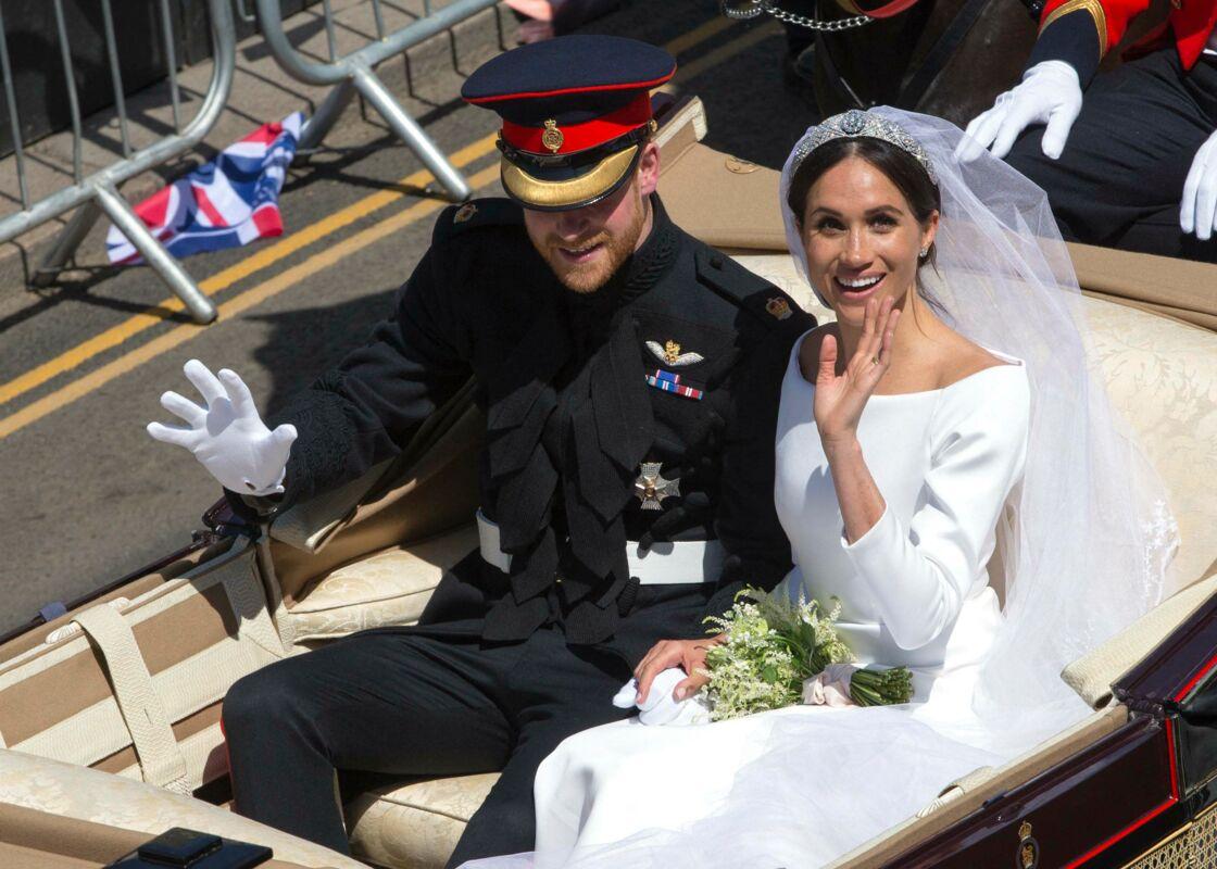 Meghan Markle et le prince Harry lors de leur mariage en mai 2018