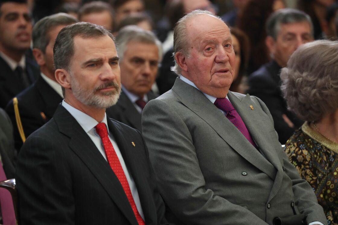 Le roi d'Espagne Felipe et son père Juan Carlos, le 10 janvier 2019