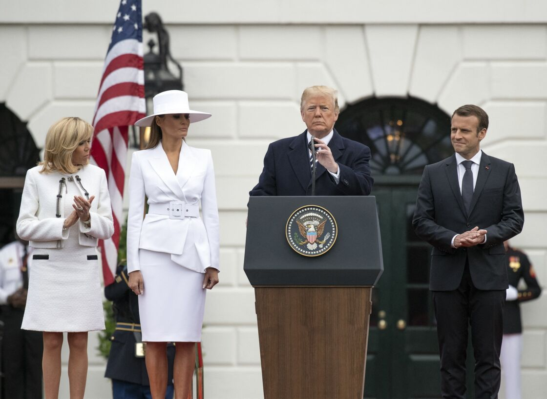 Brigitte Macron, Melania Trump, Donald Trump et Emmanuel Macron, le 24 avril 2018 à la Maison-Blanche, à Washington