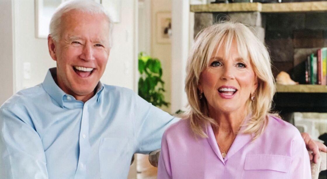 Joe Biden et sa femme Jill en visioconférence le 18 août 2020