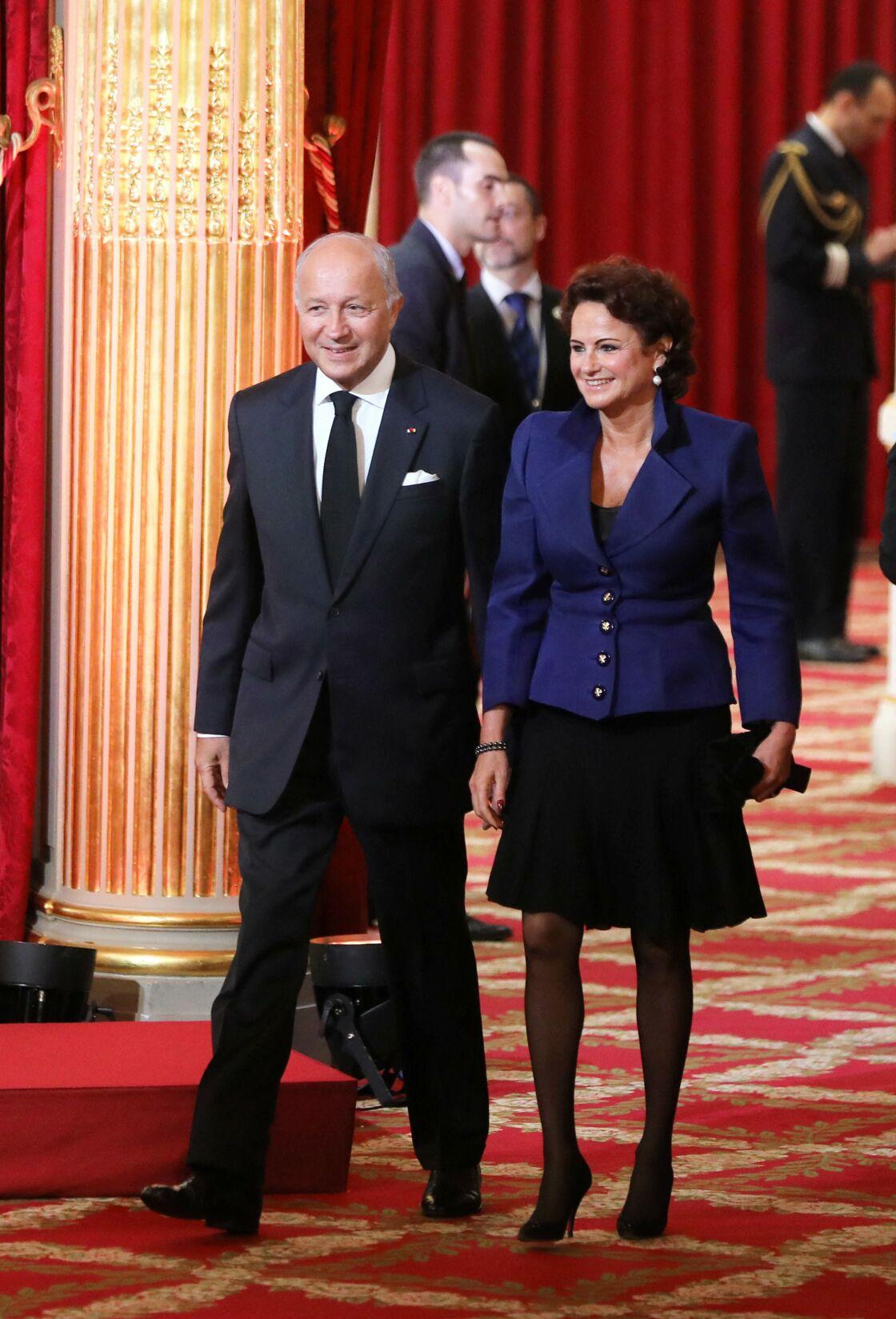 Laurent Fabius et sa compagne Marie-France Marchand-Baylet - Le président Emmanuel Macron a reçu le collier de Grand maître de la Légion d'honneur dans la Salle des fêtes du palais de l'Elysée à Paris, France, le 14 mai 2017.