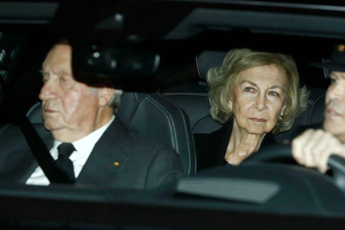 Le roi Juan Carlos Ier et la reine Sofia - La famille royale d'Espagne se recueille après le décès de l'Infante Maria del Pilar de Bourbon à Madrid, le 8 janvier 2020.