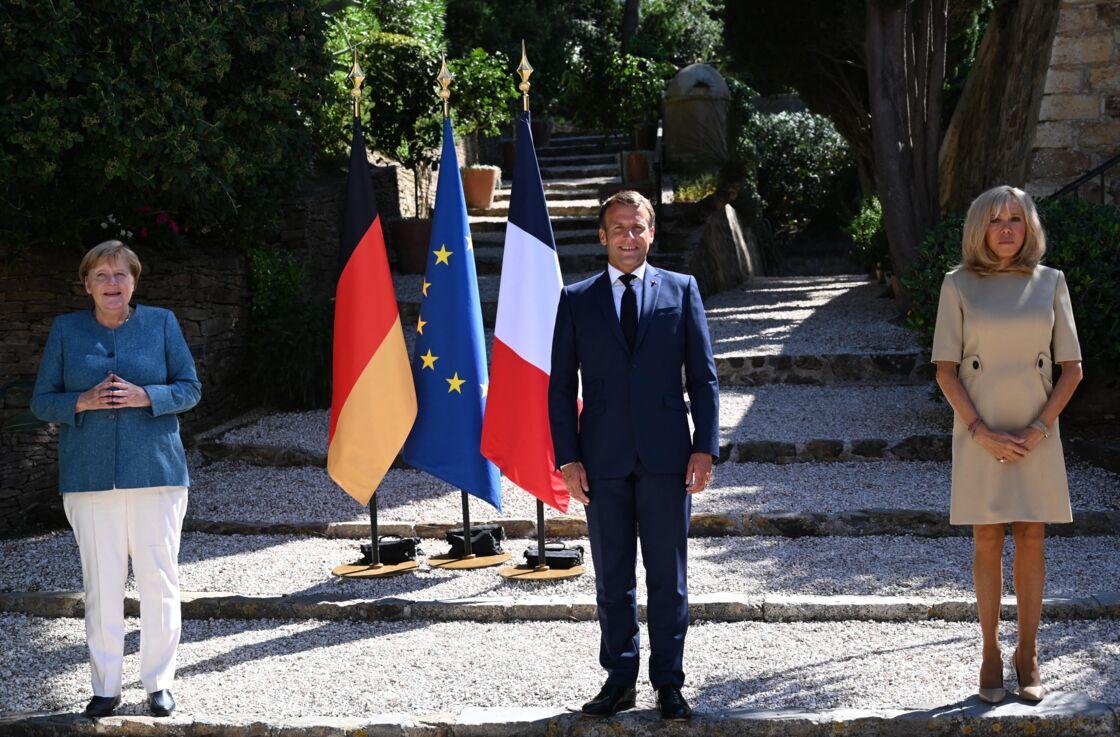 Angela Merkel, Emmanuel et Brigitte Macron au fort de Brégançon, ce jeudi 20 août 2020