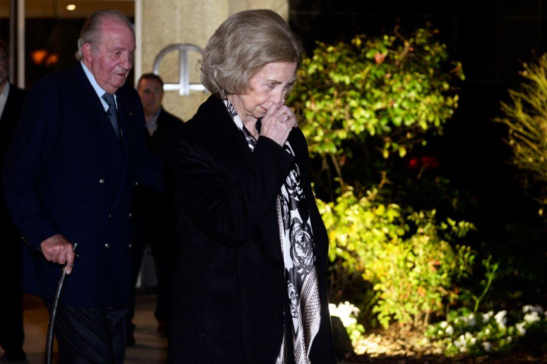 Le roi Juan Carlos et la reine Sofia d'Espagne aux obsèques de Placido Arango, le 17 février 2020, à Madrid.
