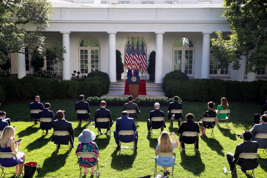 Donald Trump, en conférence de presse dans la roseraie de la Maison-Blanche, le 14 juillet 2020