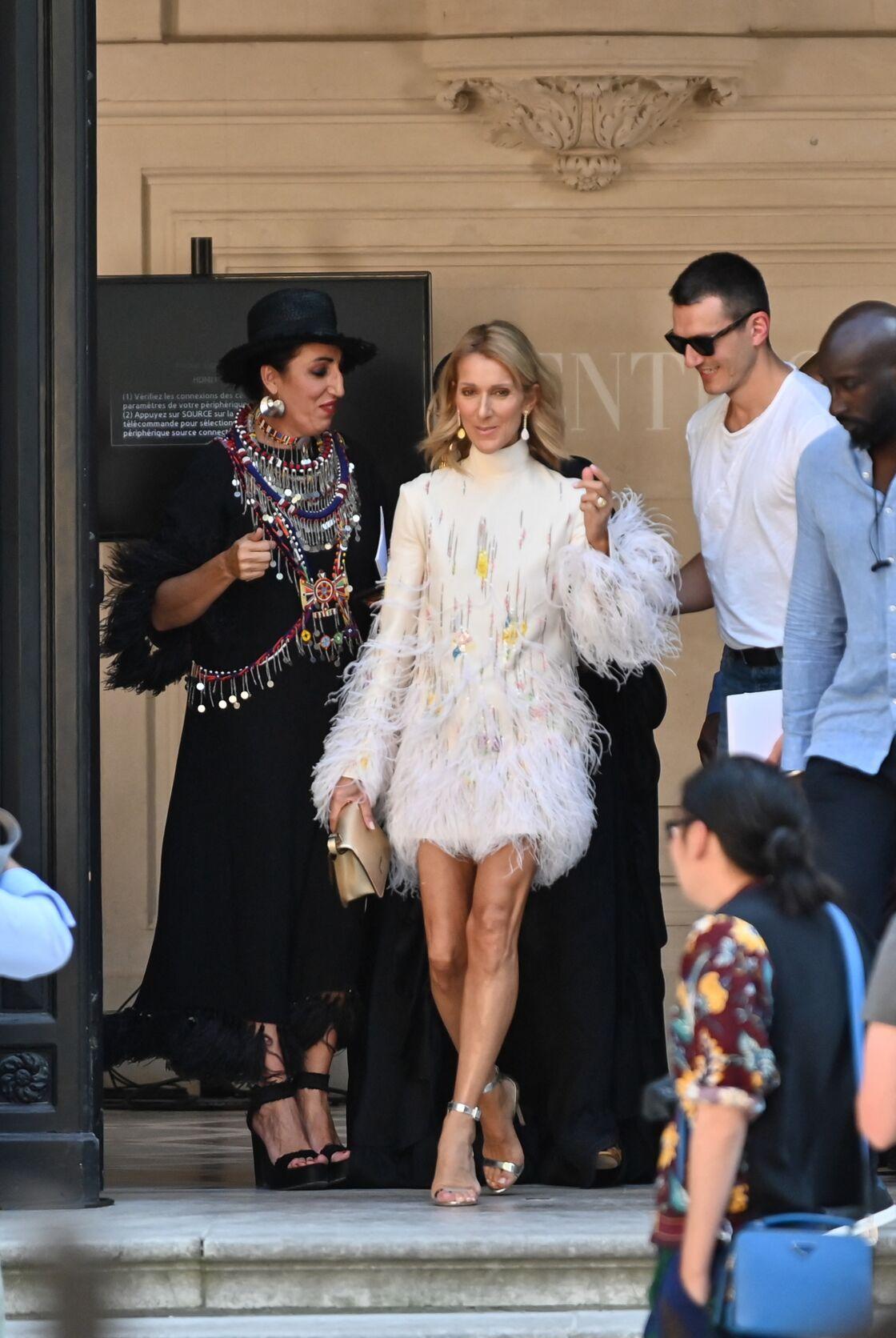 Céline Dion et Pepe Munoz, à la sortie du défilé Valentino, le 3 juillet 2019