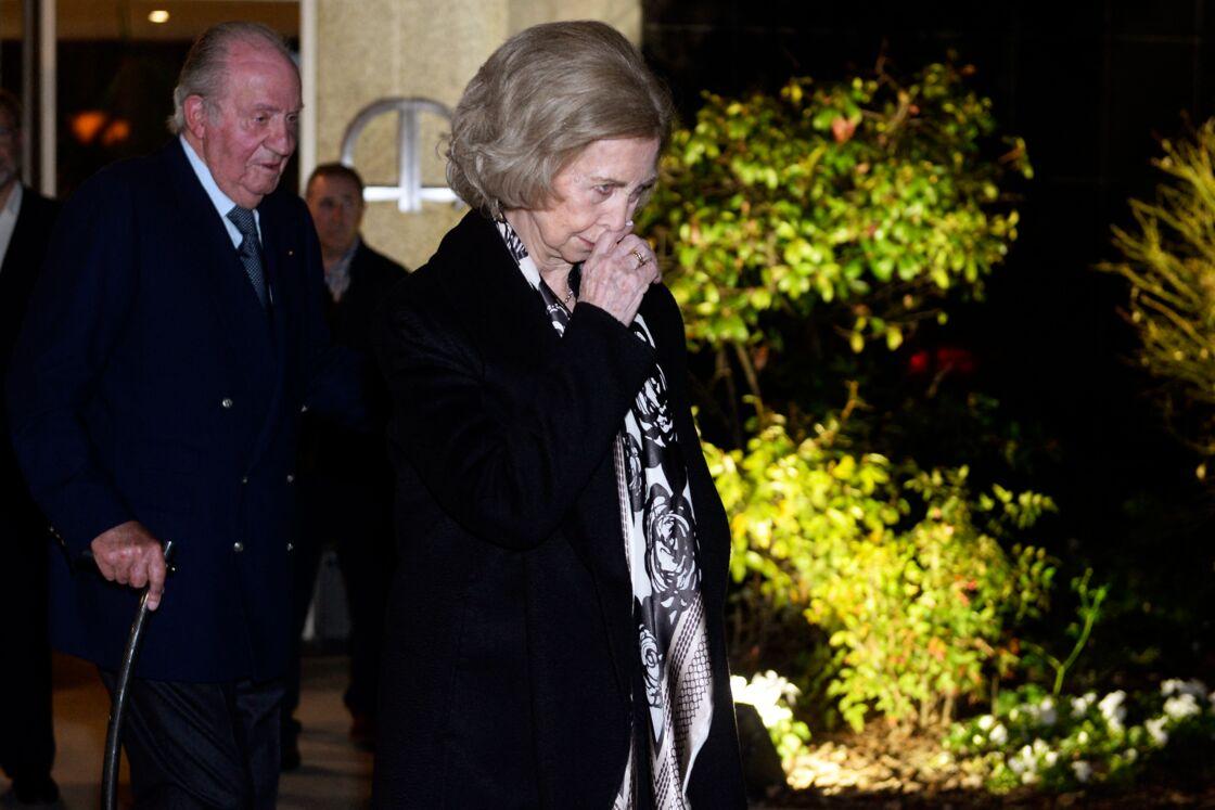Le roi Juan Carlos et la reine Sofia aux obsèques de l'homme d'affaires mexicain Placido Arango, à Madrid le 17 février 2020.