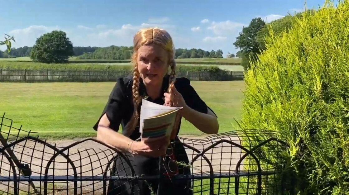 Sarah Ferguson, duchesse d'York porte une perruque avec des tresses blondes pour raconter des histoires aux enfants sur sa chaine youtube