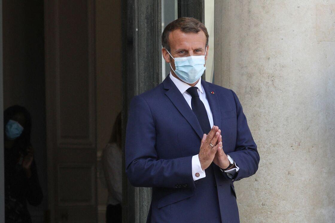Emmanuel Macron reçoit Macky Sall, président du Sénégal, au palais de l'Elysée le 26 août 2020