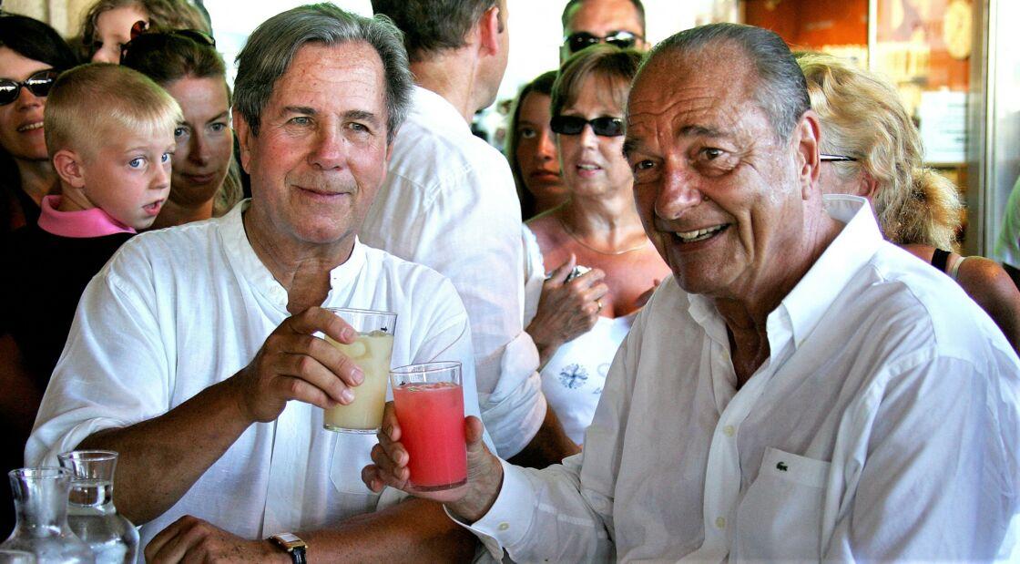 Jean-Louis Debré et Jacques Chirac à Saint-Tropez, le 10 août 2008.