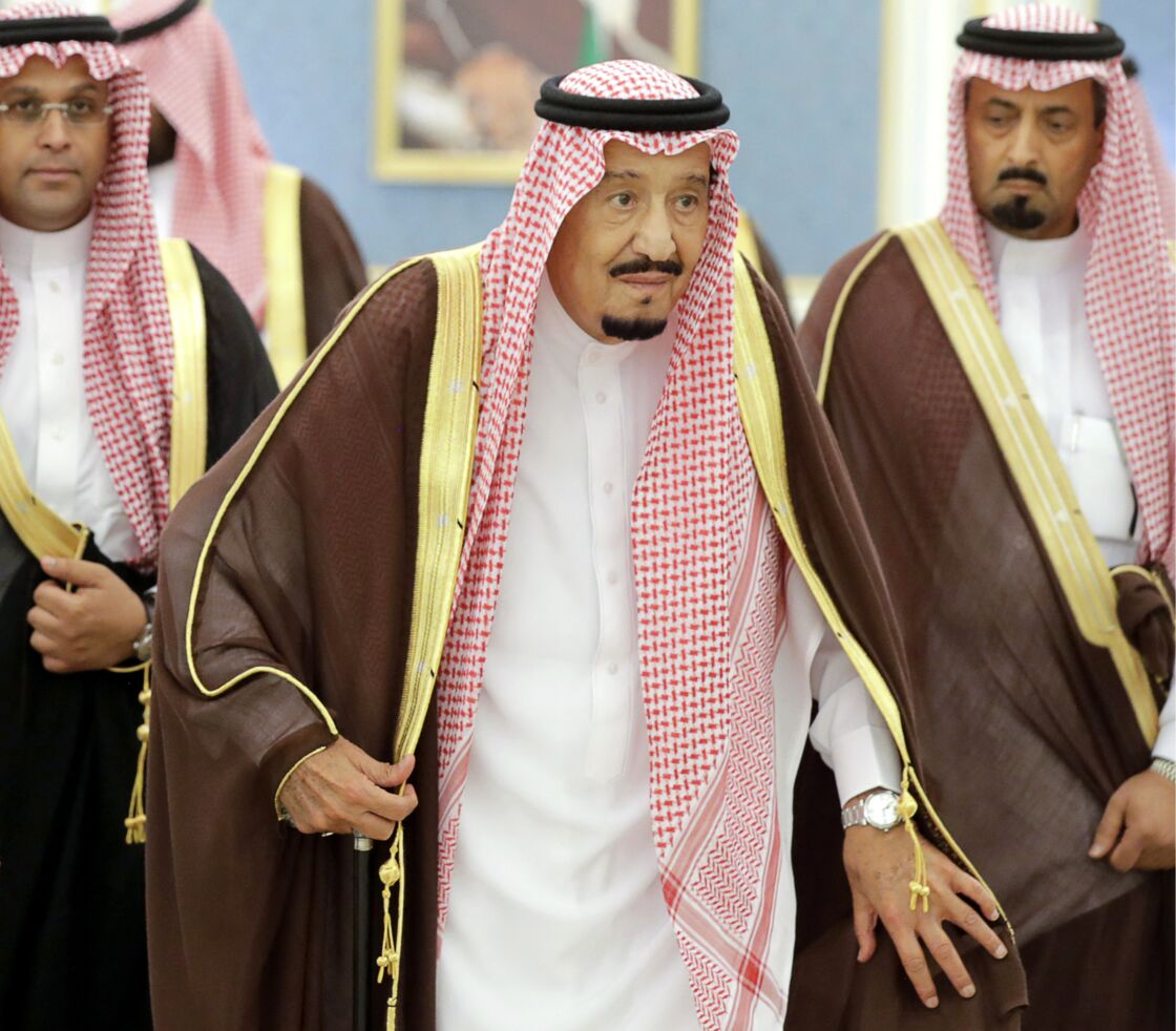 Le roi d'Arabie saoudite Salmane ben Abdelaziz Al Saoud au palais royal à Riyad. Le 14 octobre 2019.