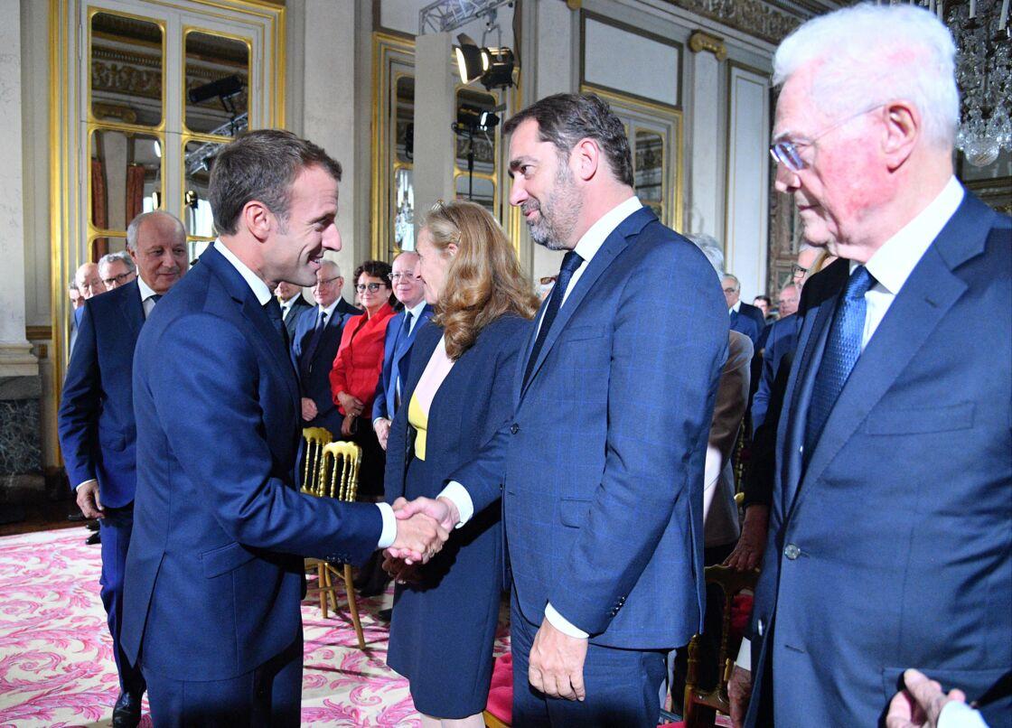 Lionel Jospin à proximité d'Emmanuel Macron et Christophe Castaner le 4 octobre 2018