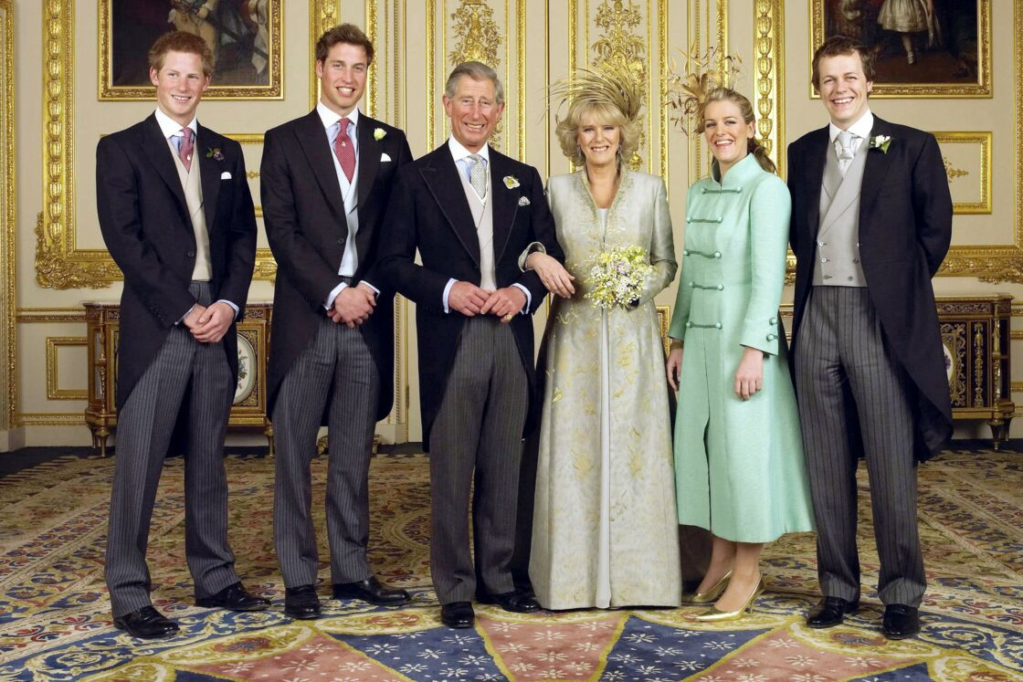 Harry, William, Laura et Tom lors du mariage de Charles et Camilla en 2005