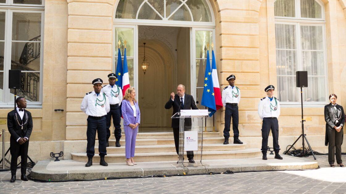Éric Dupond-Moretti, au moment de la passation de pouvoir avec Nicole Belloubet, au ministère de la Justice, le 7 juillet 2020.
