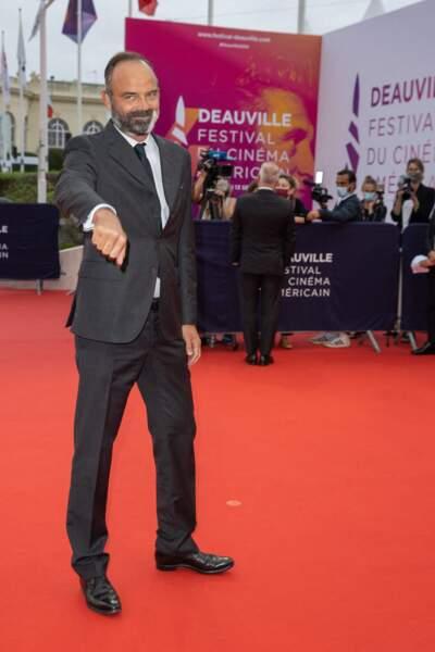 Edouard Philippe sur le redcarpet  de la cérémonie d'ouverture du 46ème Festival du Cinéma Américain de Deauville, le 4 septembre 2020. L'ex-Premier ministre avait sorti son plus beau costume !