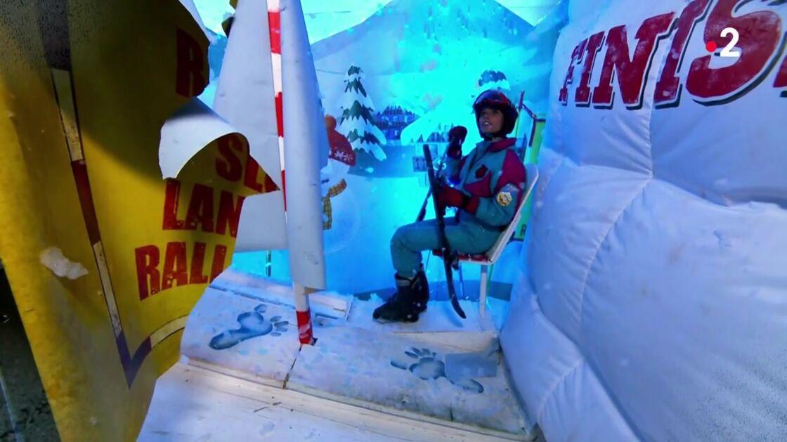 Sylvie Tellier dans le salle de ski de Fort Boyard, samedi 5 septembre.
