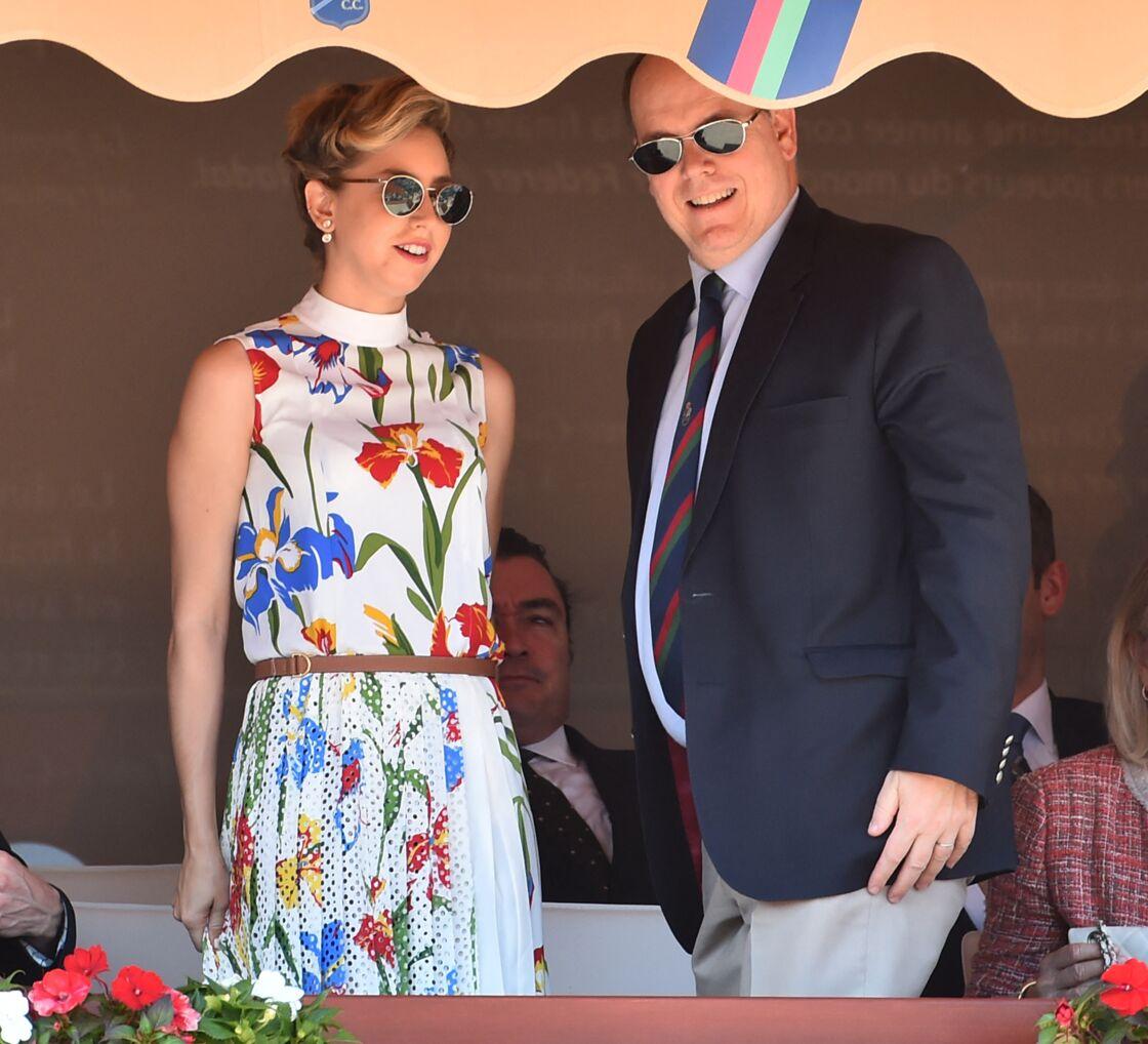 Jazmin Grace Grimaldi et son père le prince Albert II de Monaco en tribune lors du Rolex Monte-Carlo Masters 2018 à Roquebrune Cap Martin le 19 avril 2018