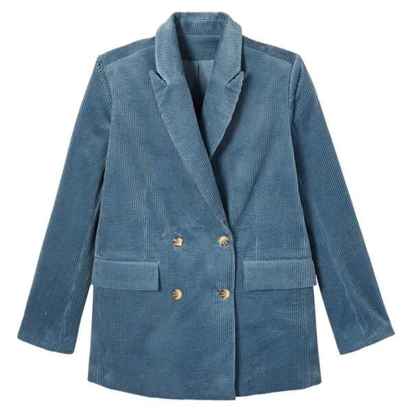 Veste tailleur double boutonnage en velours côtelé, 59,99€, La Redoute