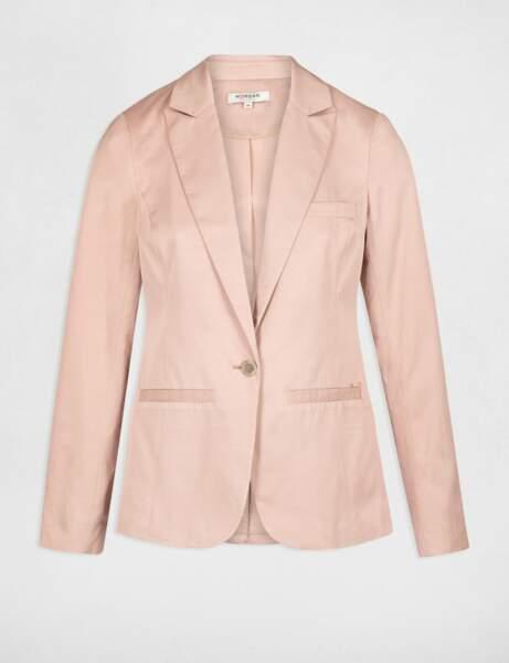 Veste droite boutonnée vieux rose femme, 37€50, Morgan