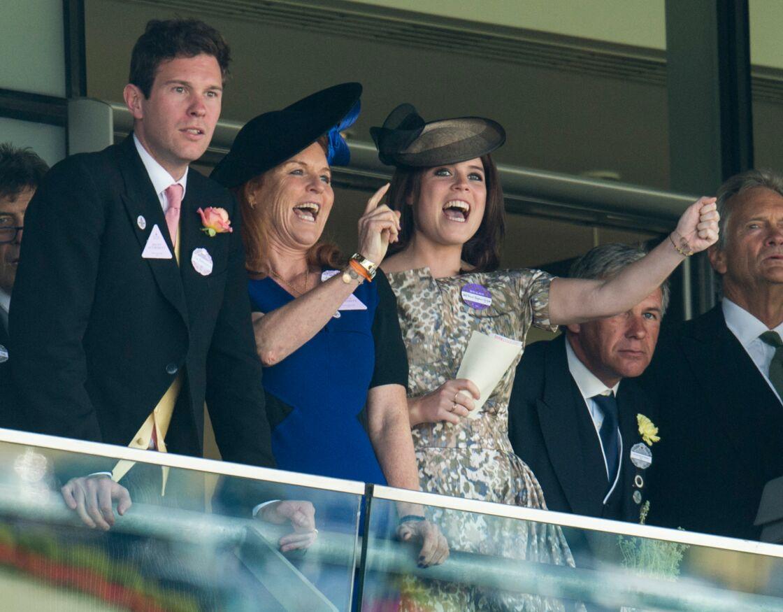 Jack Brooksbank (le compagnon de la princesse Eugenie d'York), Sarah Ferguson et la princesse Eugenie d'York - La famille Royale d'Angleterre assiste à la course hippique