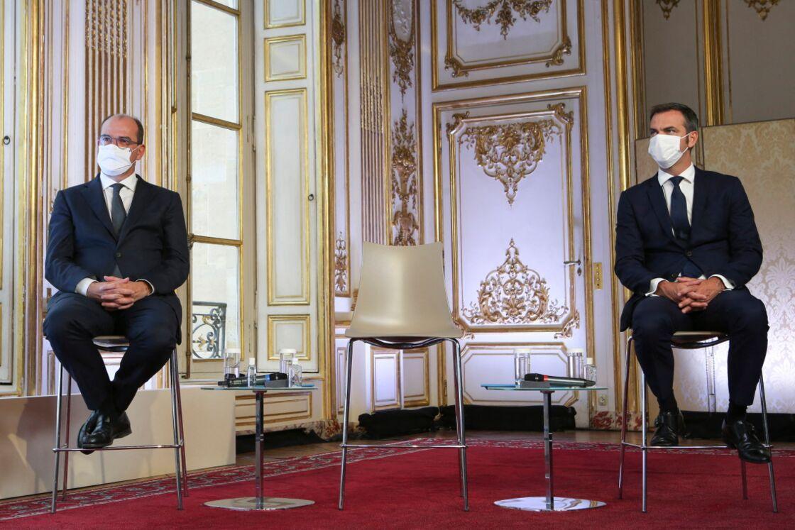 Jean Castex et Olivier Véran en conférence de presse à Matignon, le 27 août 2020.