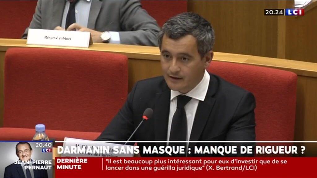 Gérald Darmanin sans masque à la commission d'enquête le 17 septembre 2020
