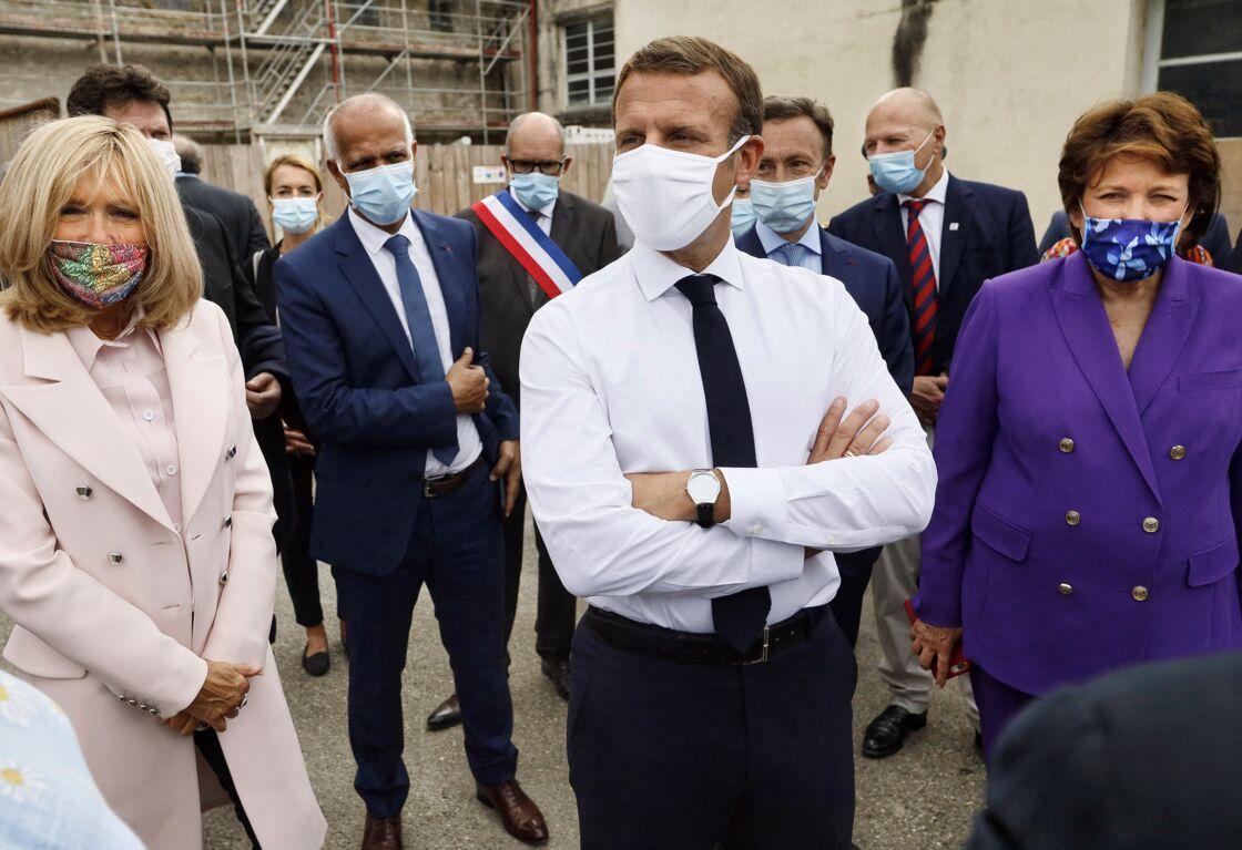 Brigitte et Emmanuel Macron avec Roselyne Bachelot à l'Hôtel de Polignac pour les Journées du Patrimoine le 18 septembre 2020