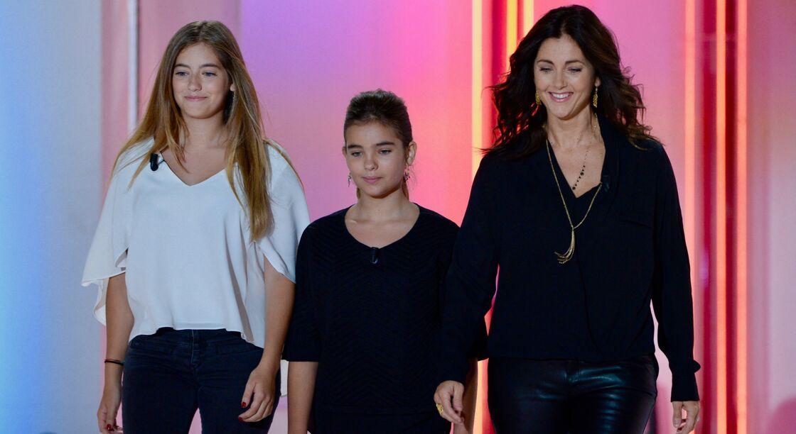 Cristiana Reali et ses filles Elisa et Toscane sur le plateau de