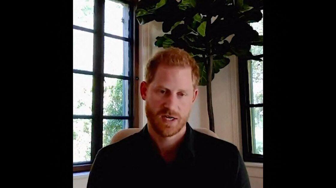 Le prince Harry, lors de sa dernière visioconférence, le 21 septembre 2020.
