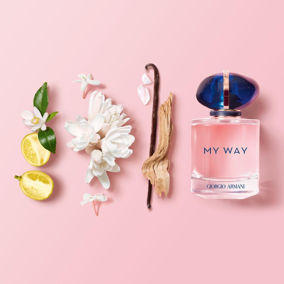 My Way est un bouquet de fleurs blanches construit autour de la tubéreuse et du jasmin ( 30 ml, 62 €).