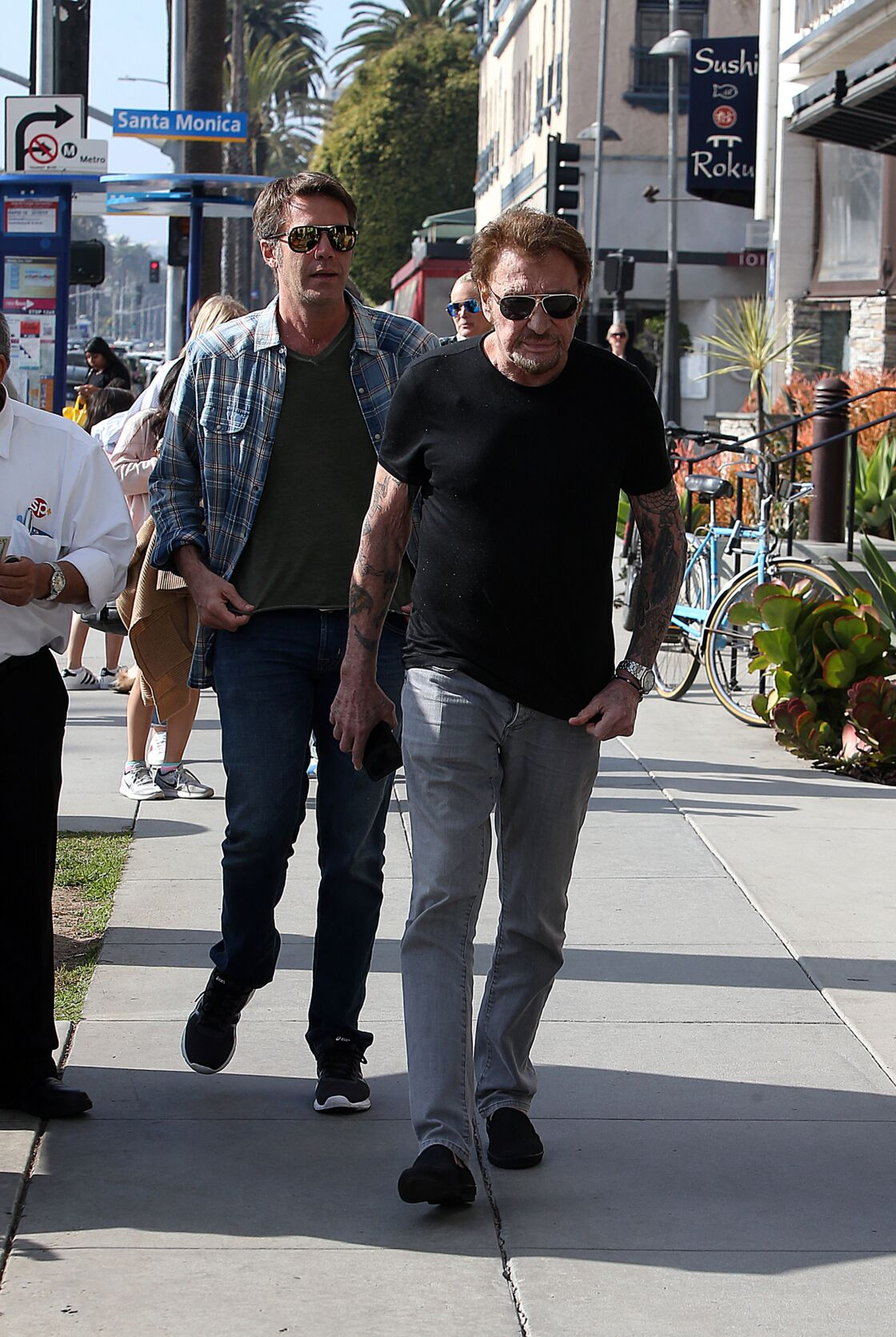 Emmanuel-Philibert de Savoie et Johnny Hallyday au Water Grill de Santa Monica le 18 mars 2017
