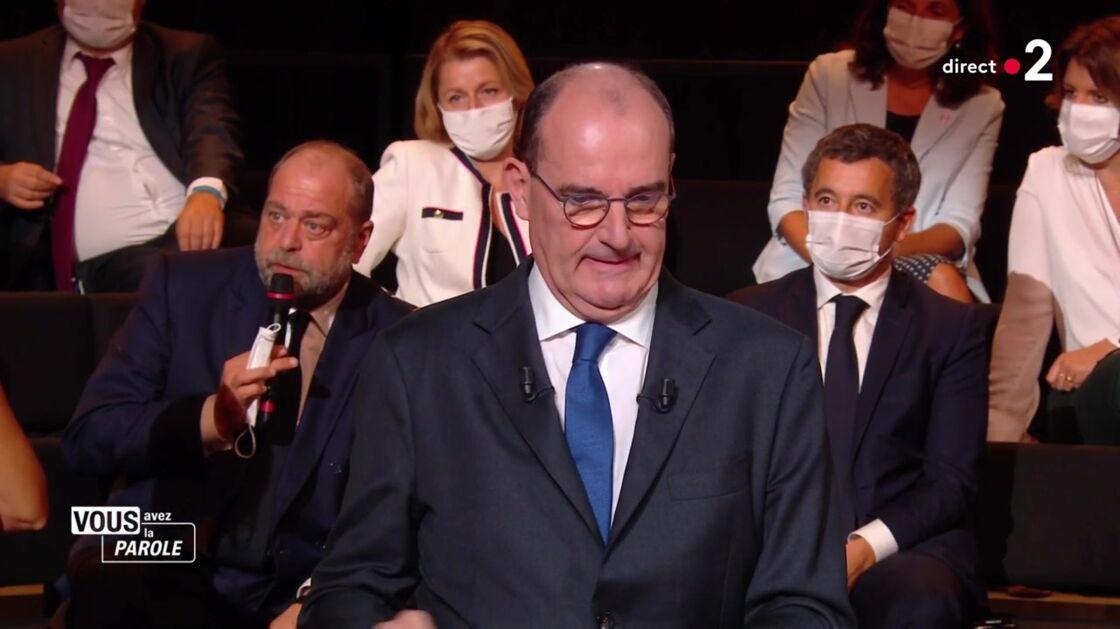 Éric Dupond-Moretti et Jean Castex, sur le plateau de France 2.