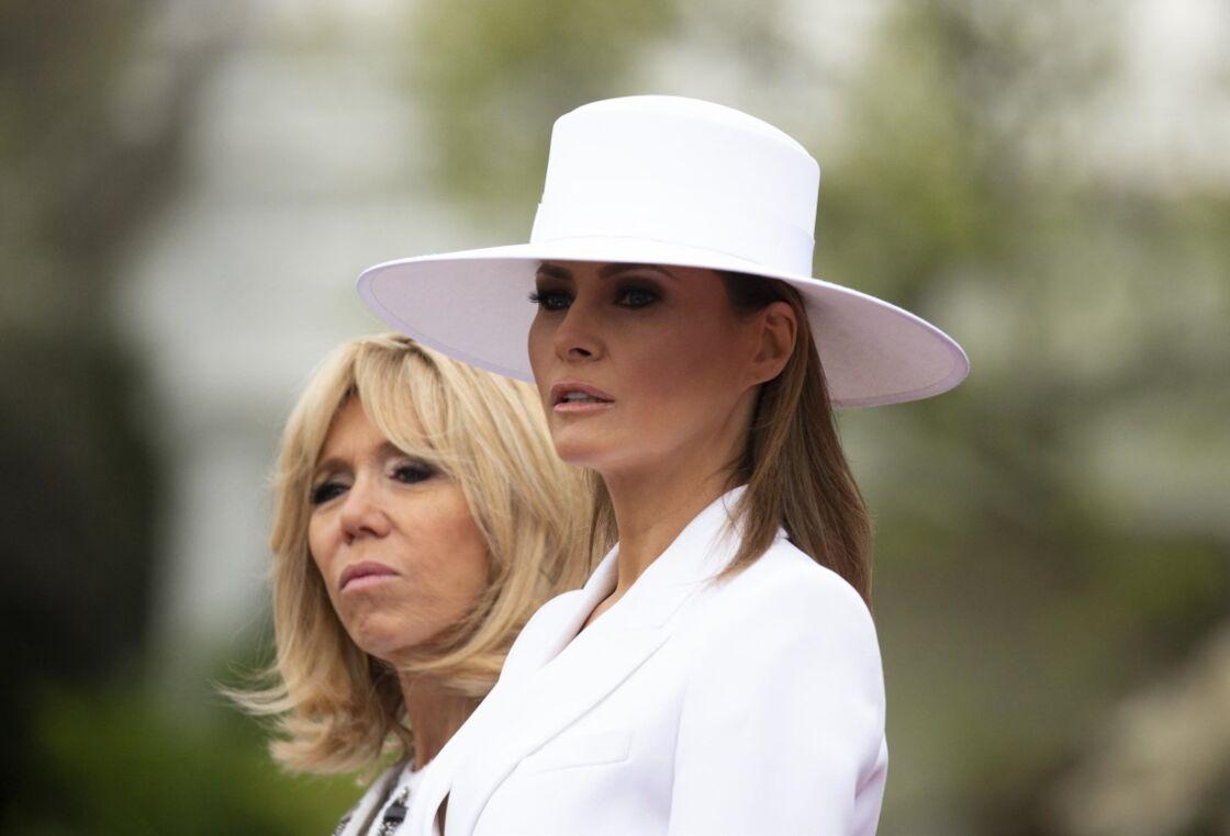 Melania Trump et Brigitte Macron à la Maison-Blanche, le 24 avril 2018.