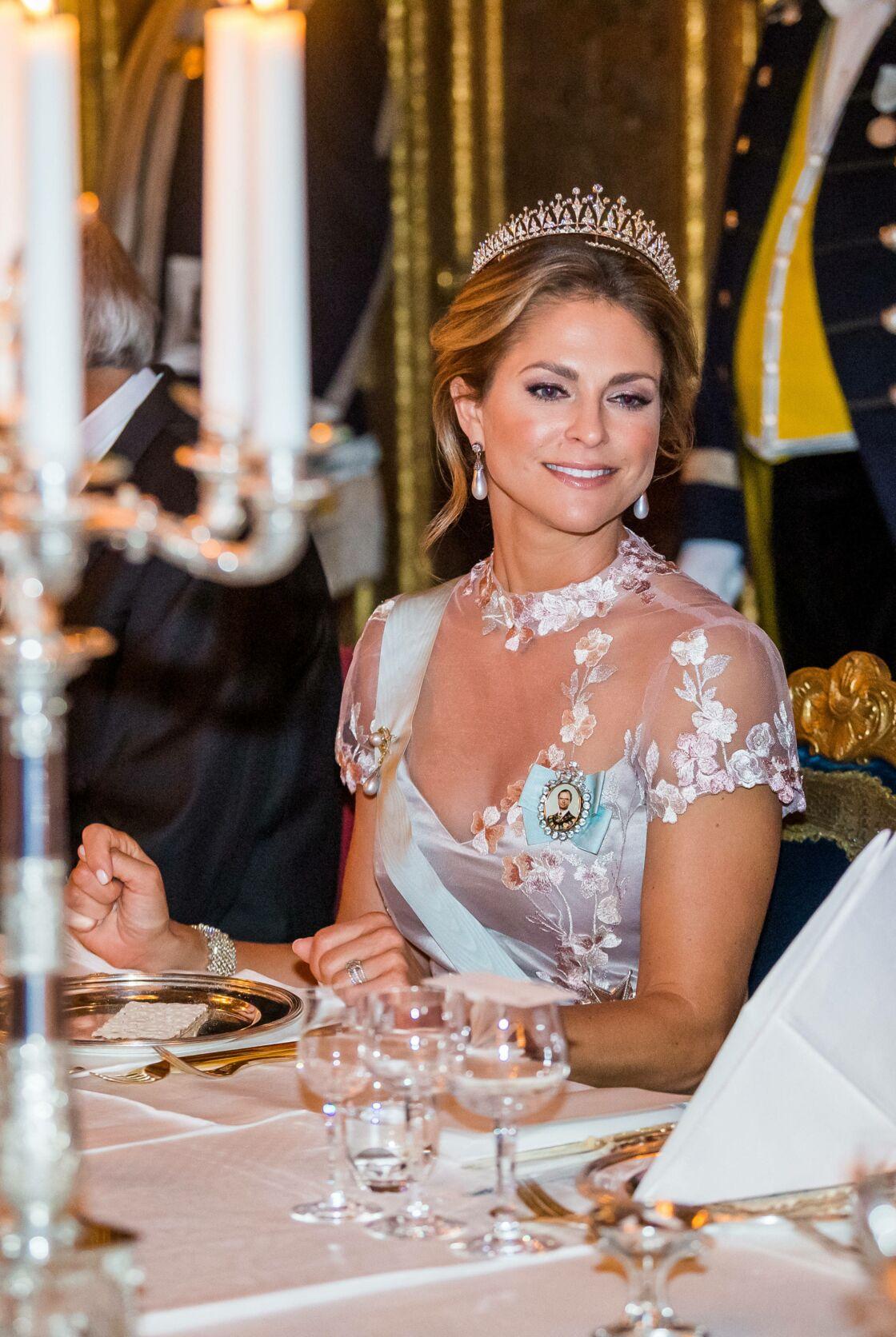 La princesse Madeleine de Suède - La famille royale de Suède lors du « Dîner du roi » en l'honneur du Prix Nobel à Stockholm. Le 11 décembre 2019