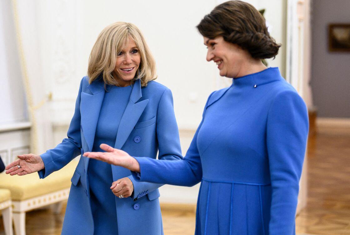 Brigitte Macron et Diana Nausediene, au palais présidentiel de Vilnius (Lituanie), le 28 septembre 2020.