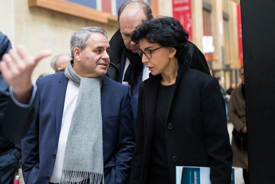 Rachida Dati et Xavier Bertrand à la gare du Nord, le 27 février 2020.