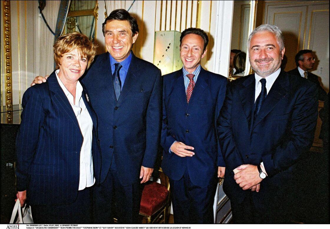Jacqueline Chabridon, l'ex-maîtresse de Jacques Chirac, aux côtés de Jean-Pierre Foucault, Stéphane Bern et Guy Savoy en 2002.