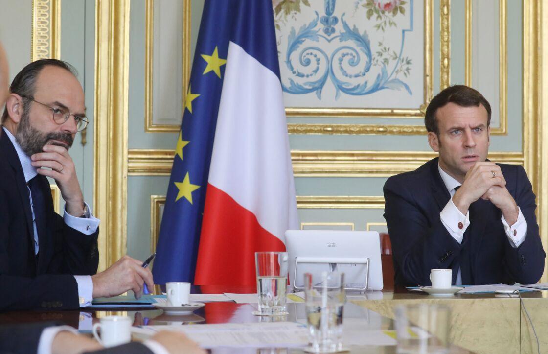 Le président de la République Emmanuel Macron présidait une réunion de la « task force économie » à l'Élysée avec Edouard philippe et avec les responsables de différentes filières impactées par la crise du coronavirus et les règles de confinement au palais de l'Élysée à Paris. Paris le 19 mars 2020.