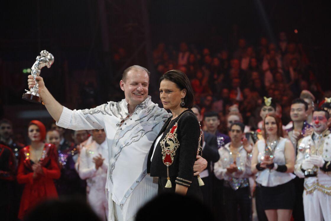 La princesse Stéphanie de Monaco et le dompteur de tigres blancs Sergey Nesterov, à la soirée de gala du 44ème Festival International du Cirque de Monte-Carlo à Monaco le 21 janvier 2020.