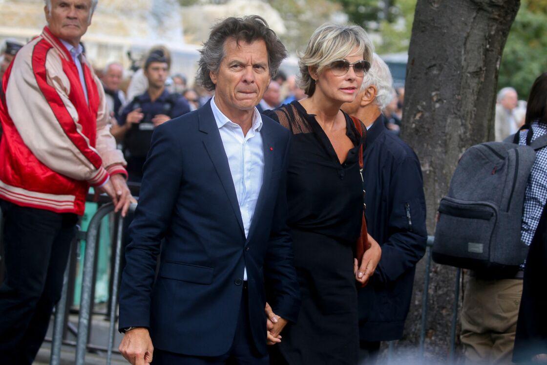 Le chef Guy Martin et sa femme Katherina Marx - Arrivées - Obsèques de Mireille Darc en l'église Saint-Sulpice à Paris, France, le 1er septembre 2017.