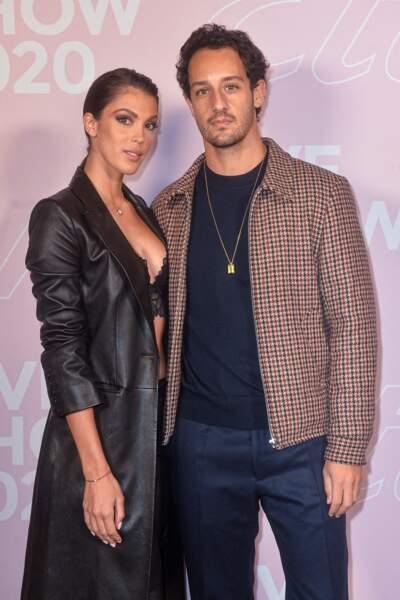 Iris Mittenaere en total look cuir, était accompagnée par son boyfriend Diego El Glaoui au défilé Etam Live Show 2020.