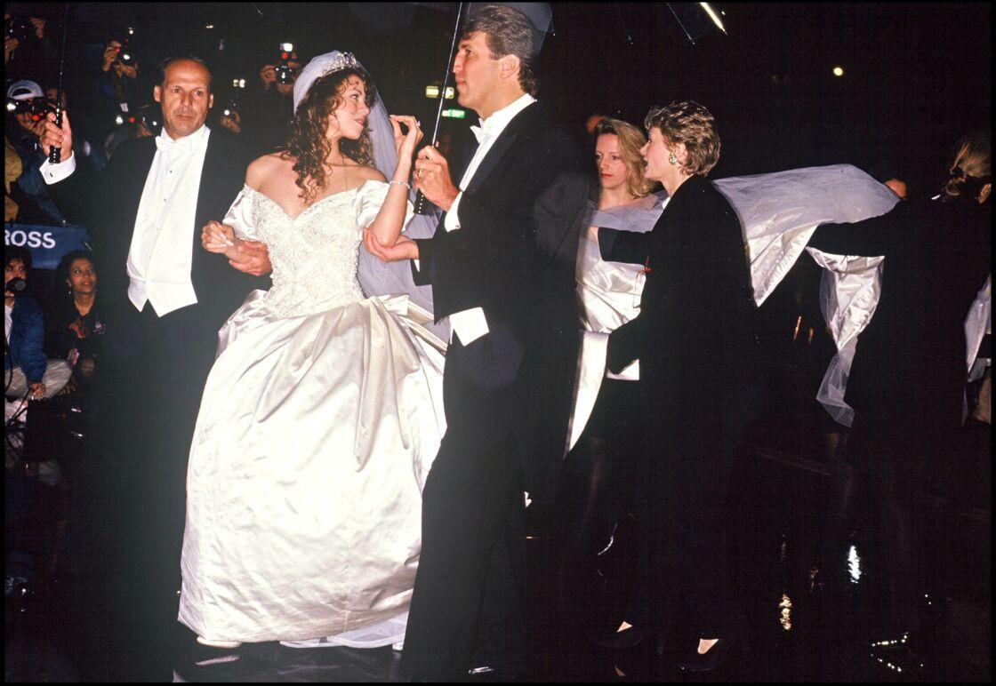 Mariah Carey, lors de son mariage avec Tommy Mottola, en 1993.