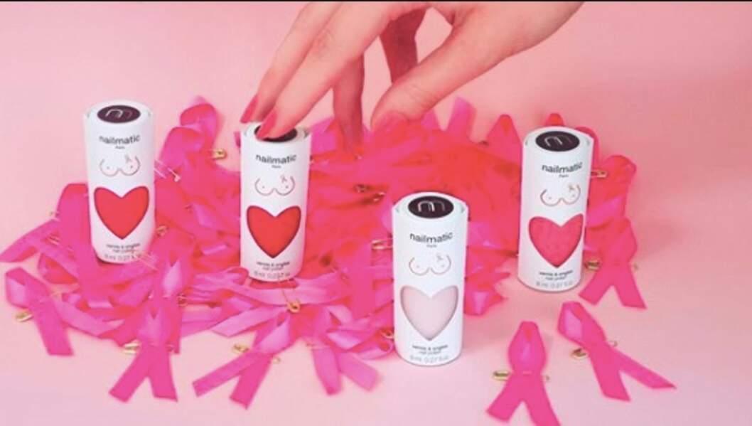 Chez Nailmatic, 100% des bénéfices réalisés sur la vente des vernies rose PURE Color seront reversés à l'association Ruban Rose. 9,50 €