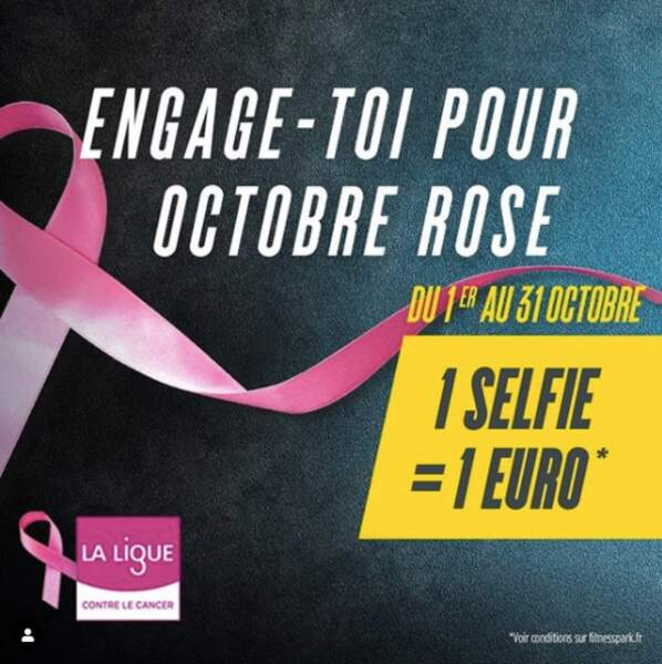 Fitness Park devient partenaire de la Ligue Contre le Cancer : durant tous le mois d'octobre prenez un selfie chez Fitness Park et de le poster sur les réseaux sociaux avec l'hashtag #MYPINKTRAINING, 1€ sera reversé à l'association