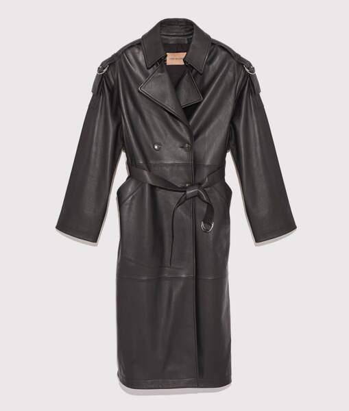 Trench en cuir oversize, 1800€, Yes Salomon