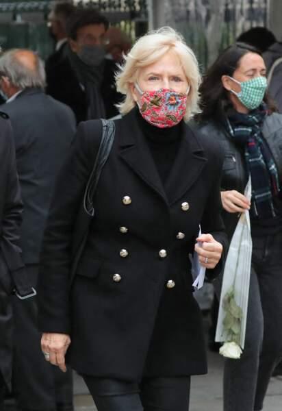 La journaliste Catherine Ceylac à son arrivée à l'église Saint-Germain-des-Prés pour les obsèques de Juliette Gréco