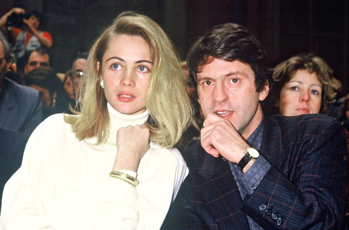 Emmanuel Béart et Daniel Auteuil au défilé Dior en 1987.