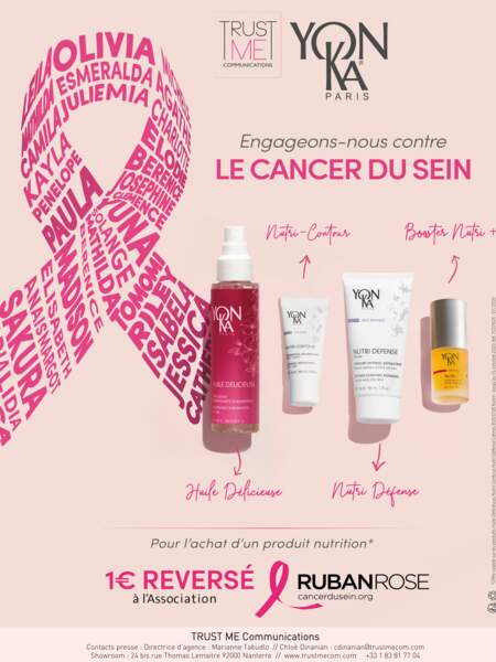 Pour chaque achat de produit de la gamme Nutrition, Yonka reverse 1€ à l'Association « Le Cancer du Sein, parlons-en ».