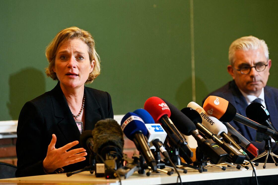 Delphine Boël, lors d'une conférence de presse, organisée le 5 octobre 2020.