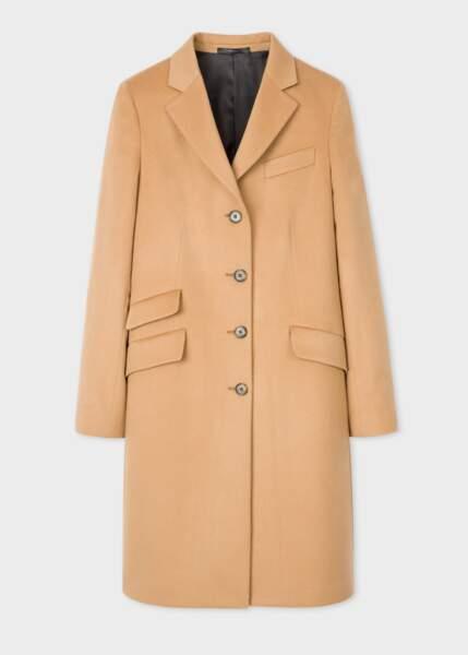 Manteau camel en laine et cachemire, 890€, Paul Smith